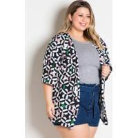 Kimono Geométrico Amplo Plus Size