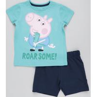 CEA  Conjunto Infantil George Pig De Camiseta Manga Curta Verde + Bermuda  Em Moletom Azul Marinho 971c63229f89b