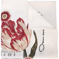 Oscar De La Renta Echarpe De Jacquard Com Estampa Floral - Branco