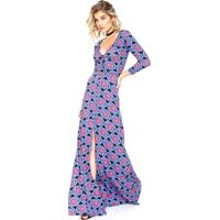Vestido Colcci Longo Slim Azul/Rosa
