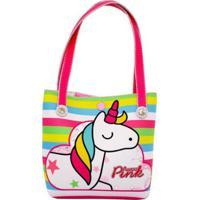 Bolsa Infantil Princesa Pink Listrada Unicórnio Color - Feminino-Rosa