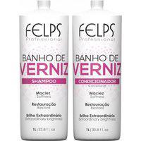 Kit Duo Brilho Banho De Verniz Felps Shampoo 1000Ml+Condicionador 1000Ml
