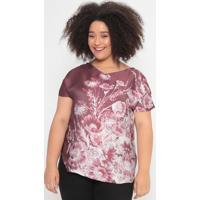 Blusa Acetinada Floral- Marrom & Rosa- Cotton Colorscotton Colors Extra