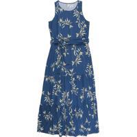 Vestido Longo Sem Manga Com Estampa Floral Azul