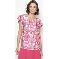 Blusa Com Recortes- Rosa & Verde- Cotton Colors Extrcotton Colors Extra