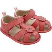 Sandália Infantil Couro Catz Calçados Bonnie Feminina - Feminino-Coral