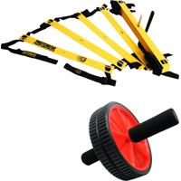 Kit Escada De Agilidade Com 10 Degraus Pretorian Ec-Pp Roda Exercícios Vermelha Liveup Ls3160V