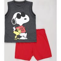 Conjunto Infantil Snoopy De Regata Cinza Mescla Escuro + Bermuda Em Moletom Vermelha