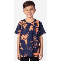 Camiseta Hermoso Compadre Flowers Niños Masculina - Masculino-Azul