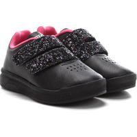 Tênis Infantil Ortopé Velcro Glitter - Feminino-Preto