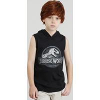Regata Infantil Jurassic World Com Capuz Preta