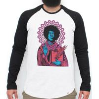 Jimi Hendrix - Camiseta Raglan Manga Longa Masculina