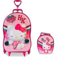 Mochila 3D Rodinhas + Lancheira Hello Kitty Cheerleader Lançamento - Feminino