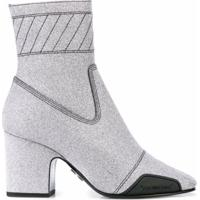 Off-White Ankle Boot Com Brilho - Prateado