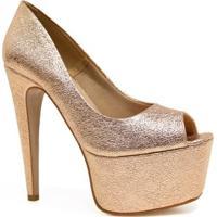 1a6b83596a Dafiti  Sapato Zariff Shoes Peep Toe Meia Pata Festa - Feminino-Dourado
