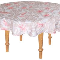 Toalha De Mesa Redonda Kacyumara Limpa Fácil 160Cm Flams Rose