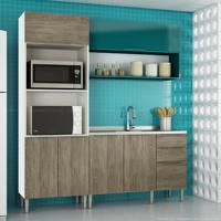 Cozinha Modulada Compacta 6 Portas E 3 Gavetas Vanguarda Rústico/Verde - Urbe Móveis