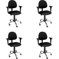 Conjunto 4 Cadeiras De Escritório Giratória Preto
