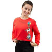 Blusão Sommer Estampa Unicórnio Feminino - Feminino-Vermelho