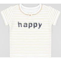 "Camiseta Infantil Listrada ""Happy"" Com Botão Manga Curta Gola Careca Off White"