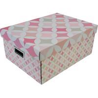 Caixa Organizadora- Branca & Rosa- 18X43X31Cm- Bboxmania