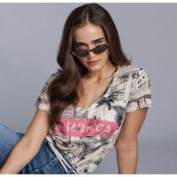 Blusa Decote V Estampada Hollywood - Lez A Lez