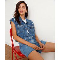 Colete Jeans Destroyed Azul Médio