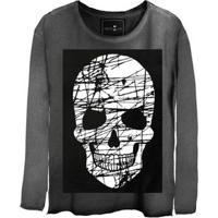 Camiseta Estonada Manga Longa Skull Risco