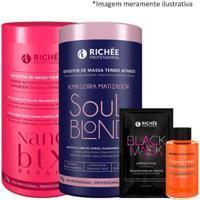 Kit Richée Repositor Nano Btx 1K + 1 Soul Blond 1K + 1 Óleo Argan 9Ml + 1 Black Masck 8G - Feminino-Incolor