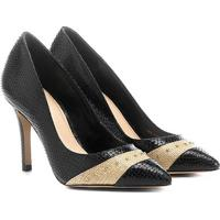 Scarpin Shoestock Salto Fino Cobra - Feminino-Preto+Bege