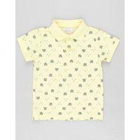 Polo Infantil Em Piquet Estampado De Ursinho Manga Curta Amarela