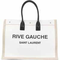 Saint Laurent Bolsa Tote Com Estampa De Logo - Neutro
