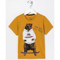 Camiseta Infantil Estampa Urso De Moletom E Skate - Tam 5 A 14 Anos | Fuzarka (5 A 14 Anos) | Amarelo | 5-6