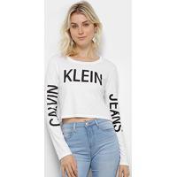 Blusa Calvin Klein Logo Mangas Feminina - Feminino-Branco