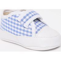 Tênis Com Recortes & Velcro- Branco & Azul Clarotico Baby