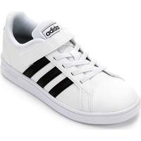 Tênis Infantil Adidas Grand Court C Velcro - Unissex-Branco+Preto