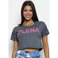 """Blusa Cropped """"Plena""""- Cinza & Pink- Patrapatra"""