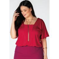 Blusa Plus Size Vermelho Com Elástico Na Barra