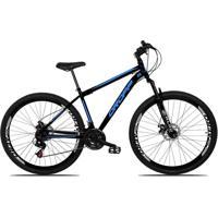 Bicicleta Dropp Aro 29 Freio A Disco Mecânico Quadro 19 Suspensão 21 Marchas Aço Preto Azul