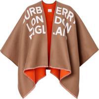 Burberry Pelerine Jacquard Com Logo - Marrom