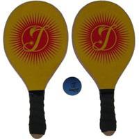 Kit Frescobol 2 Raquetes Impar Sports + 1 Bolinha - Unissex-Amarelo+Vermelho