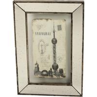 Quadro Decorativo De Parede Shangai Com Moldura Espelhada