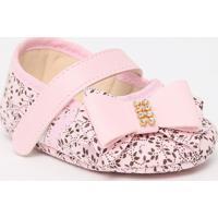 Sapato Boneca Com Laã§Os & Velcro- Rosa Claro & Marrom