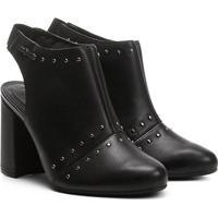 d637395f5d7175 Ankle Boot Cravo & Canela Salto Grosso Tachas - Feminino-Preto