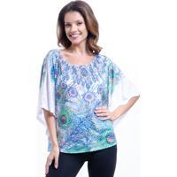 Blusa 101 Resort Wear Poncho Decote Cavado Em Malha Devore Estampado Penas Azul