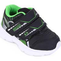 Tênis Infantil No Stress Running Velcro - Masculino-Preto+Verde