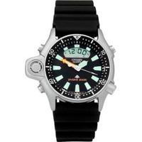 Relógio Citizen Aqualand Série Prata Jp2000-08E   Tz10137T - Masculino-Preto