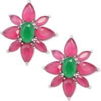 Brinco Flor Pequeno Com Zircônias Rosa Pink E Banho Em Ródio