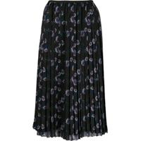 Kenzo Floral Midi Pleated Skirt - Preto