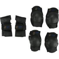 Kit De Proteção Spin Roller Com 2 Joelheiras, 2 Cotoveleiras E 2 Munhequeiras Yx0308 - Adulto - Preto